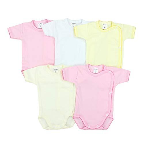 TupTam Unisex Baby Kurzarm Wickelbody Baumwolle 5er Pack, Farbe: Mädchen, Größe: 74