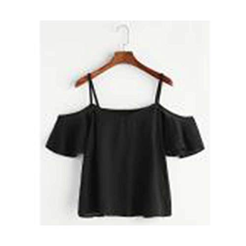 Women Summer Pinstripe Cute Girls Round Neck Lace Chiffon cool Short Sleeves Pure Color sexy Women's Cold Shoulder Top Black L -