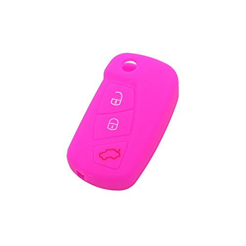 Fassport Silicone Cover Skin for FORD fit Jacket 3 Button Remote Key CV9700 Flip rosa (b)
