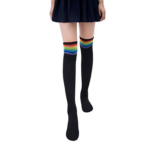 Bodhi2000 Damen Mädchen Kniestrümpfe Rainbow Stripe Tube Kleider Hohe Strümpfe