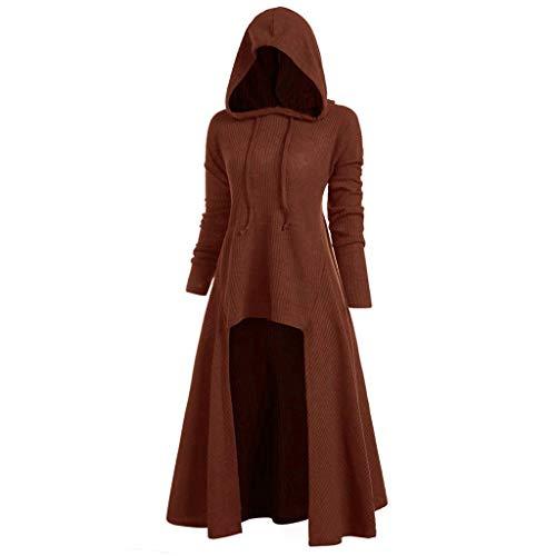 LILICAT Damen Retro Kleid mit Kapuze Frauen Lange Ärmel Damenkostüme Vintage Mittelalter Renaissance Halloween Party Kostüm Kleider Lange Pullover Kleidung Cosplay - Baker's Frau Kostüm