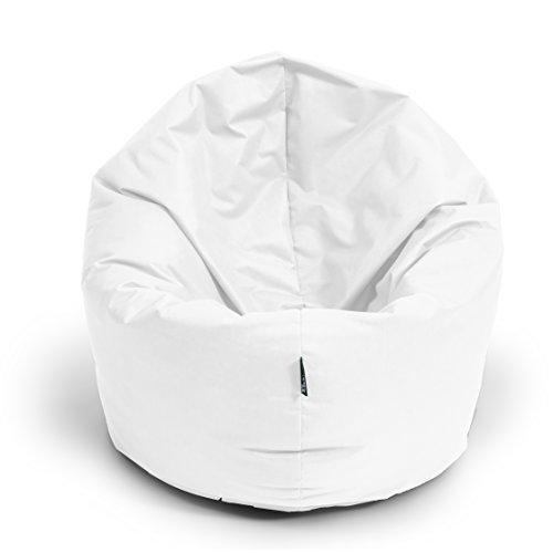 BuBiBag Sitzsack L - XXL 2 in 1 mit Füllung Sitzkissen Topfenform Bodenkissen Kissen Sessel BeanBag (100 cm Durchmesser, weiß)