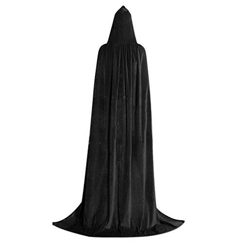 Kostüm Black Velvet Hexe - Bodbii Halloween Kapuzenumhang Lange Velvet Cape Halloween Cosplay Kostüme Damen Herren Hexe Lange Cape