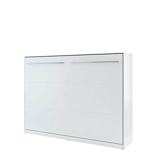 Mirjan24  Schrankbett Concept Pro II Horizontal, Wandklappbett inkl. Lattenrost, Bettschrank, Wandbett, Schrank mit integriertem Klappbett, Funktionsbett, Farbauswahl, (140x200 cm, Weiß)