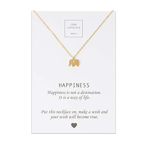 LUUK LIFESTYLE Edelstahl Halskette mit Elefanten Anhänger und Happiness Spruchkarte, Glücksbringer, Damen Schmuck, gold -