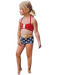 8c1d05b6a6cac MRURIC Kleinkind Kinder Baby Mädchen Bademode Sterngurte Badeanzug Bade  Bikini Set Strand,Badeanzug Retro Stil…