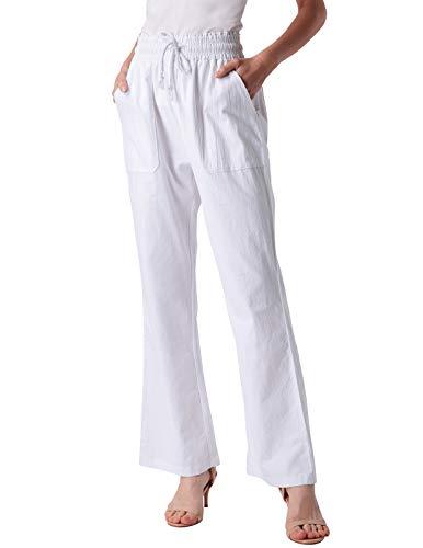 ANGGREK Damen Leinenhose Lang Hose Freizeithose mit Kordelzug Herbst Jogginghose Weiß