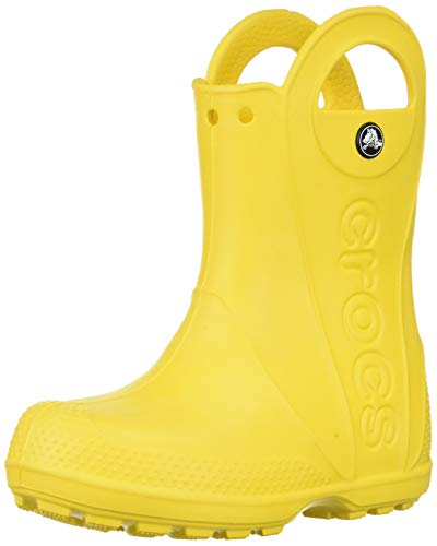 Crocs handle it rain boot k, stivali di gomma unisex - bambini, giallo (yellow), 27/28 eu