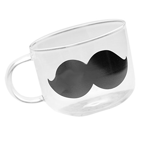 MagiDeal Tasse en Verre Tasse de Lait Mug Transparent Motif de Moustache