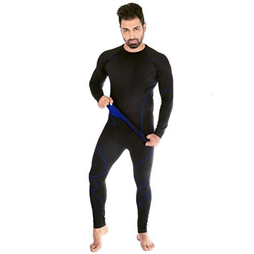 Black Snake® Funktionsunterwäsche Set neverest   Seamless Herren Thermounterwäsche   Thermo Unterhemd + Unterhose - Schwarz/Blau - XL/XXL -