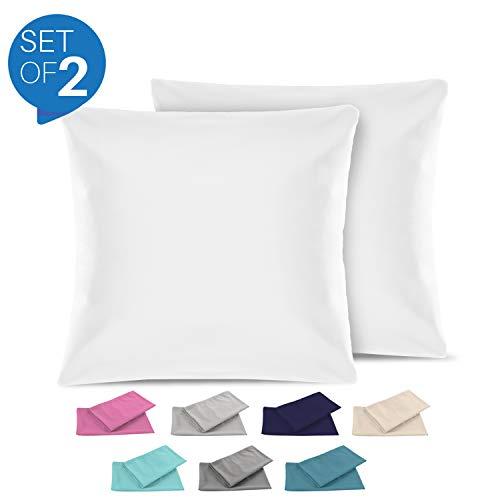Set de 2 x taie d'oreiller 80 x 80 cm, blanc albâtre, microfibre (100% polyester) - taies d'oreillers - housse d'oreiller coussin pour le lit - taie oreiller qualité confortable hypoallergénique