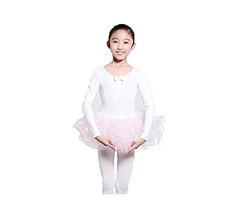 ballet Danse entraînement Pompe Manches longues Gymnastique montrer Vêtements de performance , white , 120