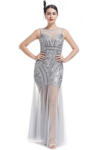 ge Kleid 20er Gatsby Abendkleid Cocktailkleid Klassisches langes Flapper Abendkleid mit Pailletten ()