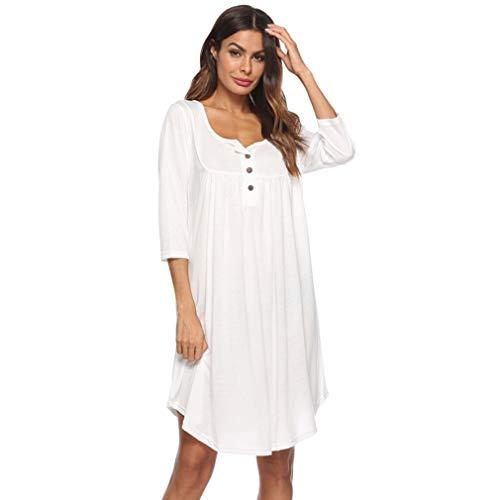LIGHTBLUE Damen Kleid mit V-Ausschnitt Lässige Kleidung Swing Simple Ruffle Button up Lose Kleider Langarm, weiß, ()