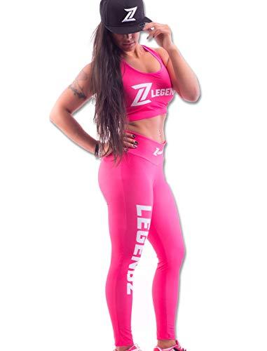 LegendZ Frauen Anzug Set 3 für Sport Gym Yoga Fitness I Anzüge Sets aus Leggings, Sport BH, Snapback - Trainingsanzug 3 Teile (Pink, XS) -