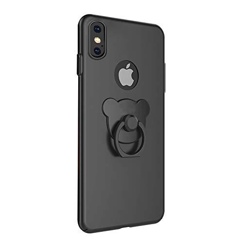 ikasefu iPhone X, niedlicher Bär mit Ring Ständer Rücken stoßfest Luxus Glänzend Slim Hard PC Ring Halter Ständer dünn Bumper Schutzhülle für iPhone X schwarz