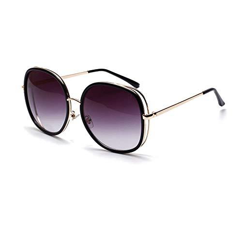 MAGAI Vintage Fashion Large Frame Square Sonnenbrillen Fashion Style UV400 für Damen/Herren (Farbe : Bright Black/Gray)