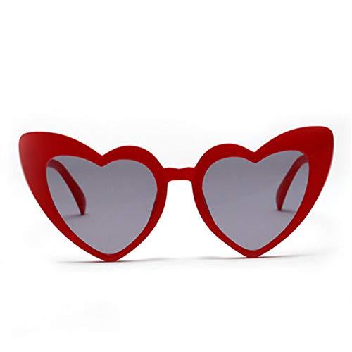LETAM Sonnenbrille Liebe Herz Sonnenbrille Frauen Nette Weibliche Retro Cat Eye Sonnenbrille Vintage 90er Jahre Rosa Brille Rot Flash Eyewear