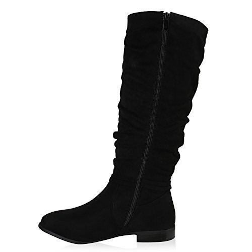 Klassische Stiefel Damen Quasten Wildlederoptik Block Absatz Schwarz