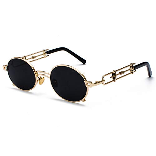 Daawqee Retro Steampunk Sunglasses Men Round Vintage NEW Metal Frame Gold Black Oval Sun Glasses For Women Red Male Gift as show in photo black with red (Billige Bulk Sonnenbrille)