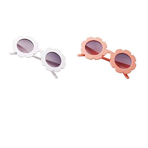 B Baosity 2xBaby Kinder Jungen Mädchen Blume UV400 Sonnenbrille Runde Brille Gläser Geschenk