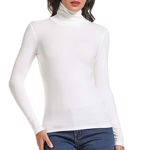 SLIMBELLE Donna Camicia Dolcevita Manica Lunga Basic Manica Lunga Slim Fit Top Pullover T-Shirt Autunno Inverno
