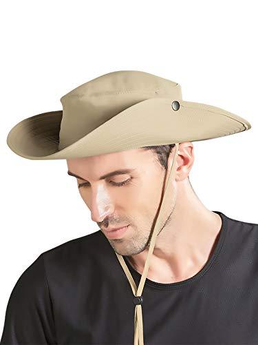 WANYING Damen Herren Cowboy Hut Fischerhut Wander Hut Sonnenhut Sonnenschutz für Ourddor Angeln Safari Wandern Two Way to Wear für Kopfumfang 58-60 cm Einfarbig Khaki