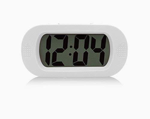 Snner GoldFox Einfacher Silent-LCD-Digital-Großbild-Wecker Snooze/Lichtfunktion Batterien mit Silikon-Schutzhülle (weiß)