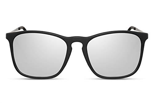 Cheapass Sonnenbrille Matt-Schwarz Rechteckig Verspiegelt Sport Klassisch UV-400 Männer Herren