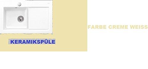 Preisvergleich Produktbild Hochwertige Exclusive Axxsis SUBWAY 45 Spüle - Keramikspüle-Farbe:Crema (Cremeweiss) , Becken rechts-Maß: 780 x 510 mm,Ausschnittmaß: 740 x 480 mm