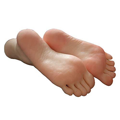 BIXINYAAN 1 Paio Silicone Piede Morbidi, Modello Reale del Piede della Copia 100% Calzino Display Arte Schizzo