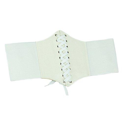 ETOSELL Femmes PU Cuir Casual Robe De Ceinture E56 Blanc