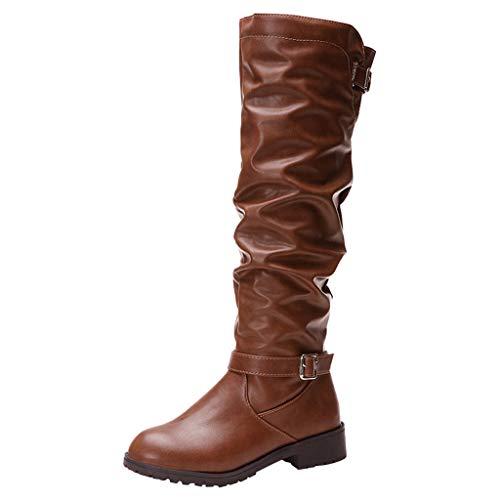 Deloito Damen Mode Schlupfstiefel Platz Heel Hohe Stiefel Einfarbig Reißverschluss Kniehohe Lederschuhe Runder Zeh Lange Schnee Stiefeletten (Braun,36 EU)