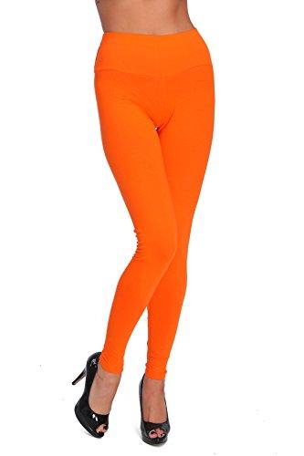 FUTURO FASHION® Hoch taillierte Leggings in voller Länge plus Größen LWP Orange Größe 48