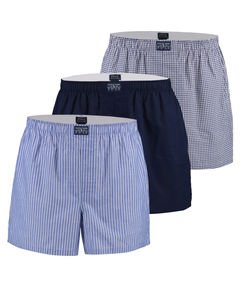 Polo Ralph Lauren Homme 3 Woven Striped & Checked Classic Cotton Boxers, Bleu, Large