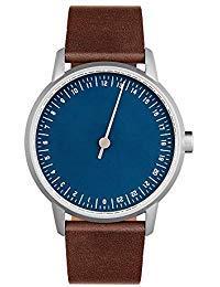 slow Round 13 - Dark Brown Leather, Silver Case, Blue Dial