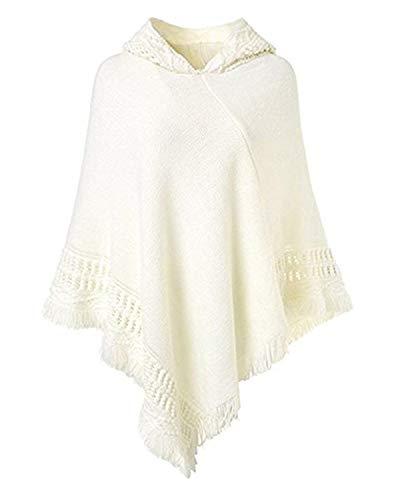 Kyerivs Damen Kapuzen Poncho Shawl Gestrickt Cape Zierfransen Pullover Strickjacken (Weiß, One Size)