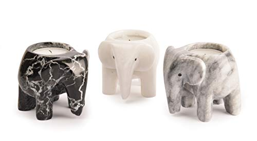 Unbekannt Fossil Gift Shop Teelichthalter Elefant Marmor, Monochrome Collection -