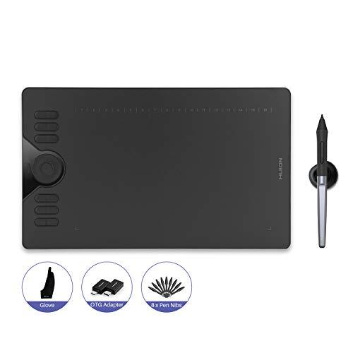 HUION Exclusive HS610 10 x 6,25 Zoll Grafiktablett für PC OTG Adapter für Android Phone & Tablet, Touch-Ring und 12+16 ExpressKeys, batterieloser Stift PW100 mit ±60° Neigefunktion 266 PPS