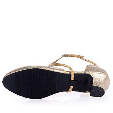 XIAMUO Women's Dance Schuhe Sandalen LeatheretteLow Ferse Gold/Silber Gold
