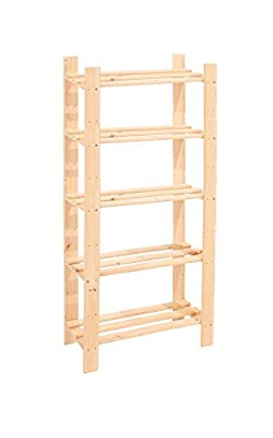 Core Products 5-Shelf Narrow Slatted Storage Unit, Natural Pine produced by Core Products - quick delivery from UK.