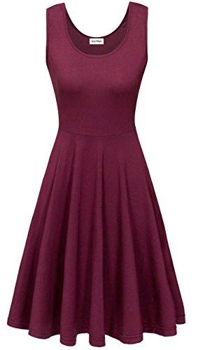 KorMei Damen Ärmelloses Beiläufiges Strandkleid Sommerkleid Tank Kleid Ausgestelltes Trägerkleid Knielang Lila M