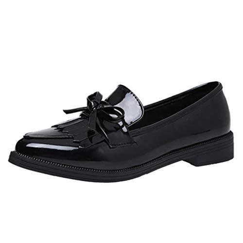 Zapatos Derby Mujer Oxfords Cuero Borla Zapatos Planos