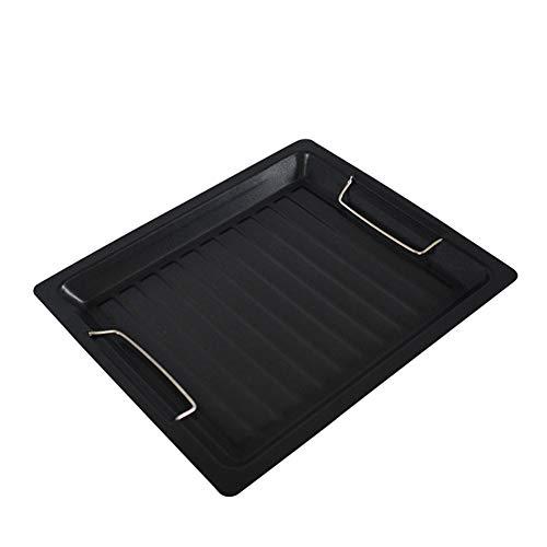 DBZDM Rechteckige Grillpfannen aus Gusseisen Steak-Grillplatte mit Griffen Vorgewürzte Grillplatte für Gaskochfelder und Barbecues mit flachen und geriffelten Oberflächen 29,8 x 25 cm