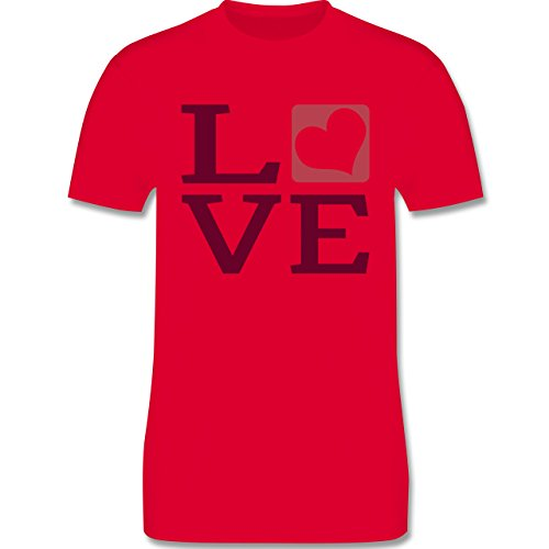 Valentinstag - LOVE Herz Typographie - Herren Premium T-Shirt Rot