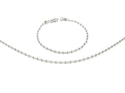 Parure bijoux argent - Collier et bracelet - chaine boule - petites perles - collier ras de cou et bracelet simple - Bijoux minimalistes