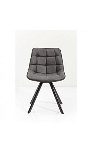 Kare Design–Stuhl Gesteppte Leder grau und schwarz Downtown
