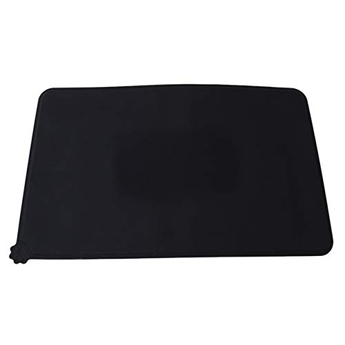 Waterproof Pet Mat for Dog Cat Solid Color Silicone Pet Food Pad Pet Bowl Drinking Mat Black 48 x 30cm