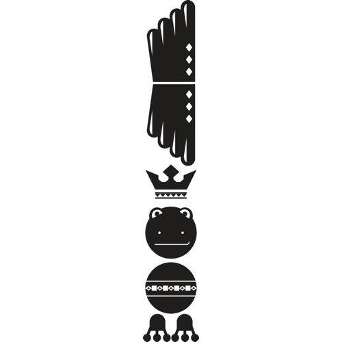 SLV Sticker Set Totem della rana, Nero