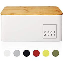 Lumaland Cuisine Brotkasten Brotdose Brotbox aus Metall mit Bambus Deckel, Brotbehälter rechteckig, 30,5 x 23,5 x 14 cm Weiss
